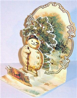 VICTORIAN 3D SNOWMAN MERRY CHRISTMAS CARD MINT Factory Sealed RARE Shackman