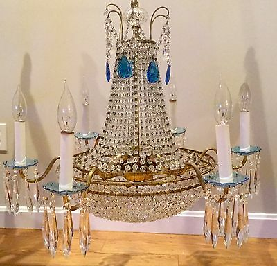 Antique Vintage Russian Baltic Empire Brass Beaded Basket Crystal Chandelier