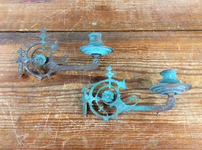 Vintage Asian Wall Sconce Candle Holders - pair