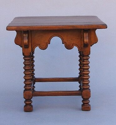 Turn of the Century Carved Walnut Wood Side Table w Turned Legs Spanish (9722)
