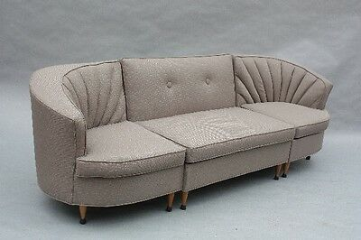 1960s Antique Grey Sectional Sofa Vintage Mid Century Couch Fits Dutch (9714)