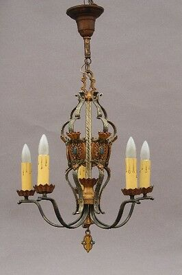1920s Unique Antique Spanish Revival Chandelier Light Fits Tudor European (9712)