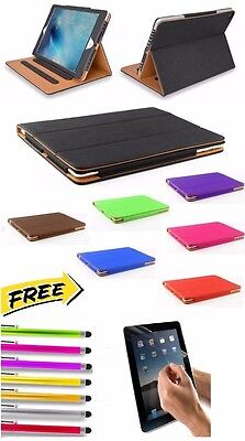 Genuine Soft Leather TAN Smart Flip Folio Stand Case Cover for Apple iPad 6 air2