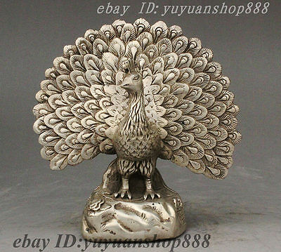 Marked Chinese Feng Shui Silver Carved Beautiful Flower Peafowl Animal Statue