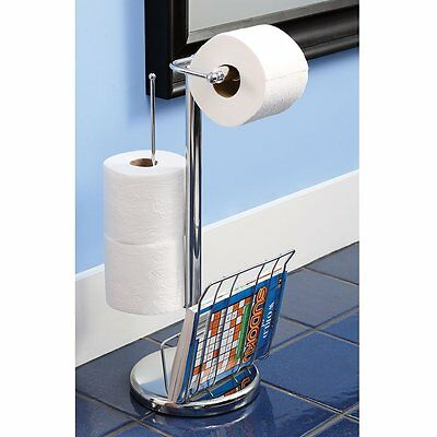 Chrome Metal Toilet Paper Holder with Magazine Rack