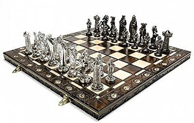 MEDIEVAL SILVER - Large 42cm / 16.5in Artistic Chrome Chess Set