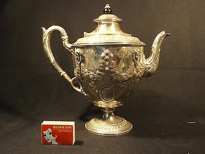 C.1900 English Silver Plated Pedestal Teapot Heavily Foliate Decorated Vg Cond.