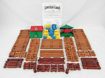 Lincoln Log Frontier Town Less People Plus 39 Other Logs Total Lot of 178 Pieces