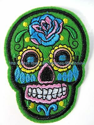 Crafts Purple /& Black Skull Applique Sewing Day of the Dead Goth