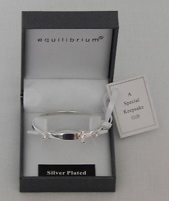 Equilibrium Silver Plated Christening Bangle - Cross - Heart - Great Baby Gift