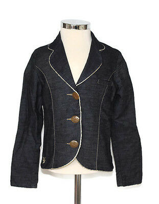 Girls NO ADDED SUGAR blue fitted jacket age size 7 8 years