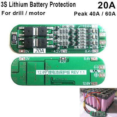 20A 3S 11.1V 3 Packs 18650 Batterie BMS Li-ion Lithium Cell PCB Protection Board