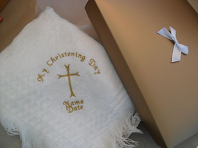 Personalised babys christening shawl  embroidered large gold cross
