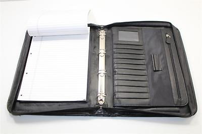 Black Leather Executive Folder with Retractable Arms