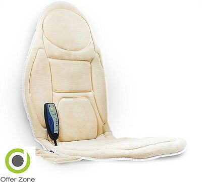 Car Seat Neck Back Massage Soft Cushion Cream Mat Heated Vibration Chair Medivon