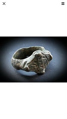 ANCIENT HEAVY NEAR EASTERN GOLD BRONZE  RING 1st BC to 2nd CENTURY A.D