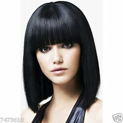 100% Real Hair!Black Human Hair Straight Wig With Full Bang For Women