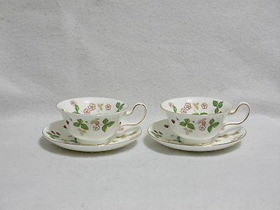 Wedgwood Wild Strawberry -- Peony-Shape Cup and Saucer Sets (2)