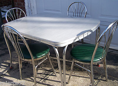 VINTAGE FORMICA TABLE in Gray w/ 4 RETRO CHAIRS in Green - 1950's - VGUC!
