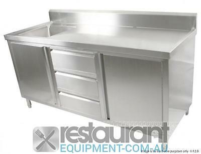 Commercial Stainless Steel Cabinets and Desks SC-7-1500L-H CABINET WITH LEFT SIN