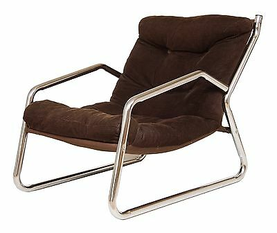 1970's retro chrome and corduroy armchair, Eames era, 20thc design