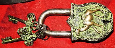 Camel Shape Vintage Antique Style Handmade Brass Lock & Iron Pad Lock With Key