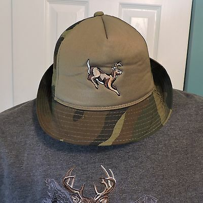 Vintage Winchester Camo Bucket Boonie Hunting Hat Cap Embroidered Buck Size L
