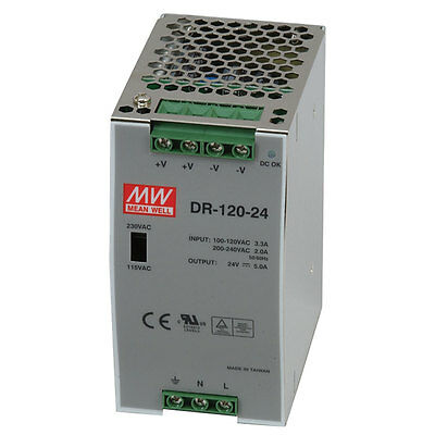 Mean Well DR-120-12 AC to DC DIN-Rail Power Supply 12 Volt 10 Amp 120 Watt