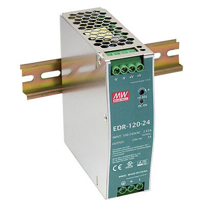 Mean Well EDR-120-24 Single Output DIN Rail Power Supply 24 Volts 5 Amps 120 Wat