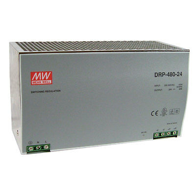 Mean Well DRT-480-24 AC to DC DIN-Rail Power Supply 24 Volt 20 Amp 480 Watt