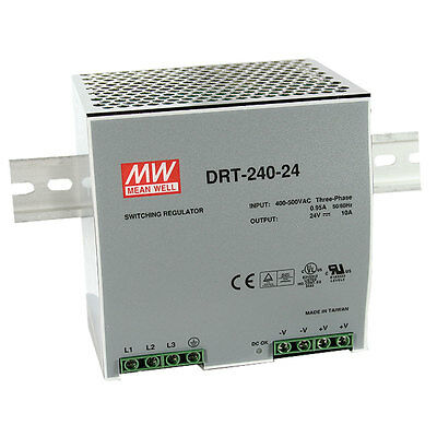 Mean Well DRT-240-24 AC to DC DIN-Rail Power Supply 24 Volt 10 Amp 240 Watt