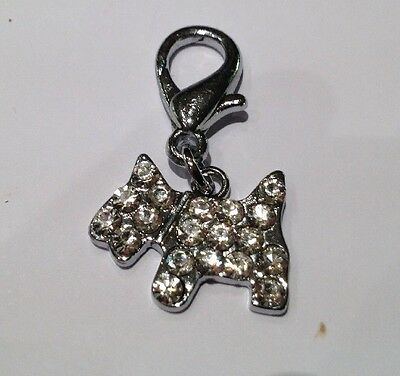 Silver Diamante Scotty Dog - New - Pet Charm - Mobile Phone