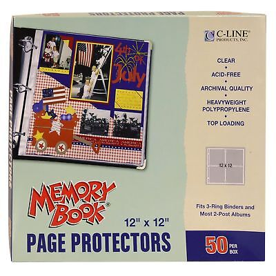 C-Line Memory Book 12 x 12 Inch Scrapbook Page Protectors Clear Poly Top Load...
