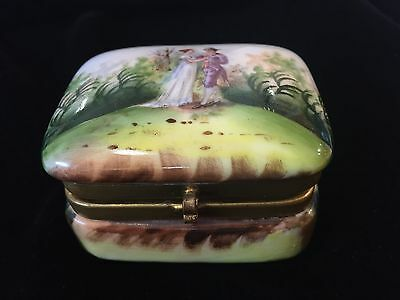 Antique French Handpainted Porcelain  Box