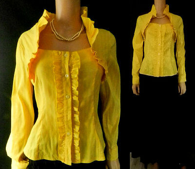 Vintage Blouse Victorian Style Ruffle High Collar Long Sleeves 10 Yellow Goth