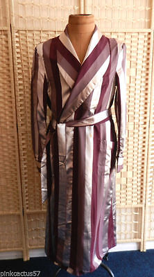 """mens VINTAGE dressing gown smoking jacket RARE 30s deco maroon silver 40/42"""""""