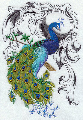 Embroidered Peacock flourish quilt block,peacock fabric,cushion panel,   bird