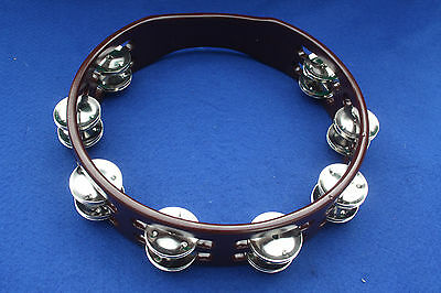 """Hand Held Wooden Tambourine 10"""" Colour Copper with Double Jingles for drum kit"""