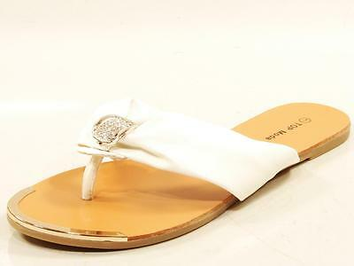 Womens Wholesale Shoe Lot 11 Pairs New In Box White Thong Sandals With Crystals
