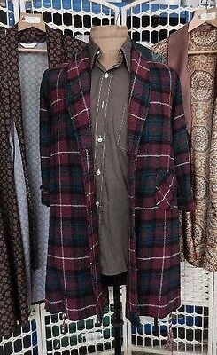 rare 40s vtg boys DRESSING GOWN red green tartan plaid wool chest 34""