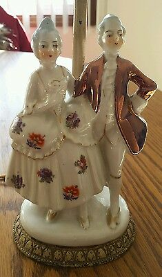 Porcelain Colonial Man and Woman Antique Lamp with Cast Iron Base