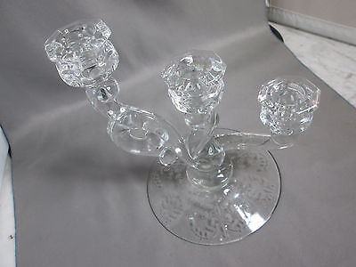 """Vintage HEISEY 3 LIGHT CASCADE CANDLE STICK Orchid Etch 7 1/2"""" Tall GREAT SHAPE"""