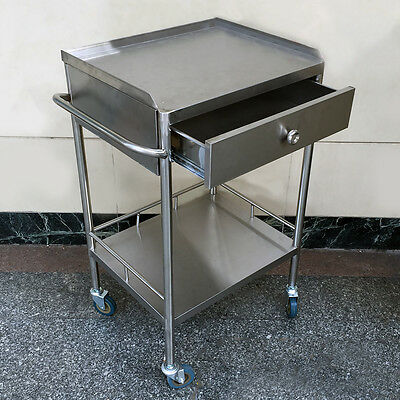 Drawer Portable Unique Serving Medical Dental Cart Trolley Thicker UC913 2 Layer
