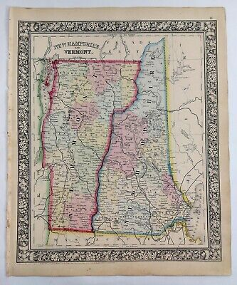 1862 Antique Mitchell's Huge Hand Tinted Colored Map New Hampshire & Vermont