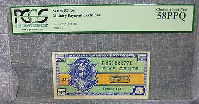 Series 521 PCGS 58PPQ Choice About New Military Payment Certificate 5¢