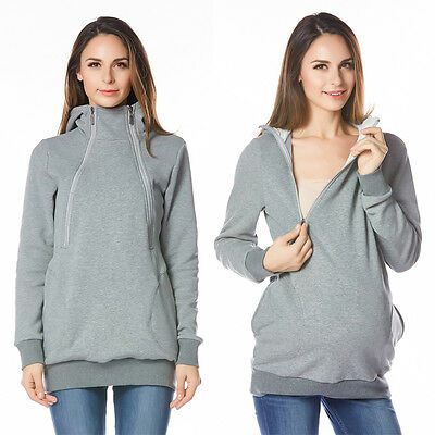 Cotton Maternity Clothes Breastfeeding Tops With Hoodie Fall&Winter Nursing Tops
