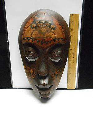"Carved & Painted Wooden Cultural Art Mask Wall Hanging  13"" tall Beautiful piece"