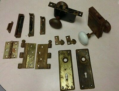 Antique brass porcelain door knob back plate lock skeleton key Hardware vintage
