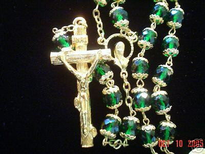 Emerald Green Crystal Rosary with Gold Filigree Caps