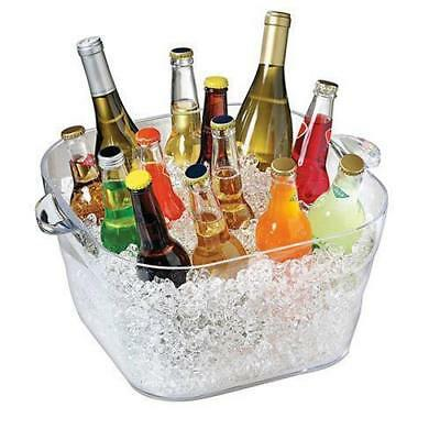 Square Wine Bucket Clear Polycarbonate, 16.6L, Serroni, Bottle Ice Cooler, Party